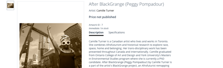 AfterBlack Grange (Peggy Pompadour) exhibited at Momenta Biennale's virtual booth for Art Toronto